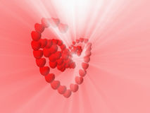 Hearts and white light shine Stock Images