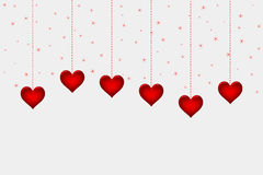 Hearts on white paper for Valentine's day background Stock Photo