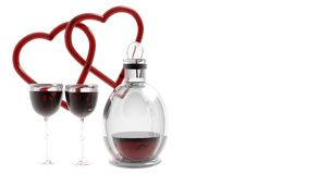 Hearts with Wine Glasses Stock Photos