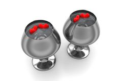 Hearts in a wine glasses containing pure water Stock Image