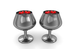 Hearts in a wine glasses containing pure water Royalty Free Stock Photography