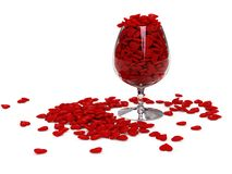 Hearts in wineglass Stock Photography