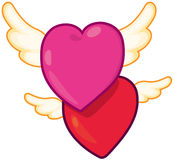 Hearts with wings Royalty Free Stock Image