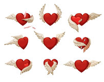 Hearts with wings. Set of hearts with wings. Isolated on white background Stock Image