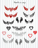 Hearts and wings Stock Photos
