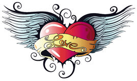 Hearts, wings Stock Images