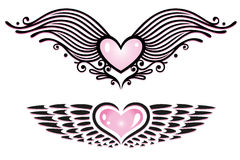 Hearts, wings Royalty Free Stock Photography