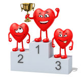 Hearts with winner cup on sports victory podium Stock Photo