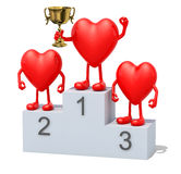 Hearts with winner cup on sports victory podium Stock Image