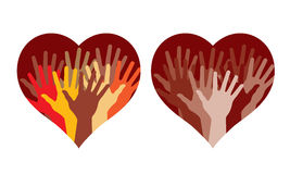 Hearts With Many Helping Hands Royalty Free Stock Image