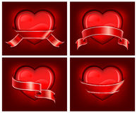 Free Hearts With Ribbom On Red Stock Photos - 17444063