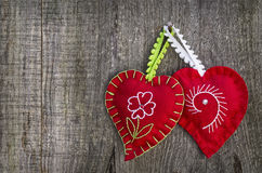 Hearts in wood background Stock Photos