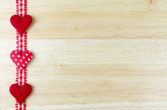 Hearts on wood Stock Image