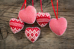 Hearts on wooden background Royalty Free Stock Image