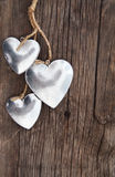 Hearts on wooden background Royalty Free Stock Photos