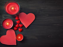 Hearts on wooden background Stock Image