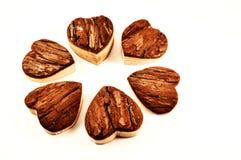 Hearts. Wooden hearts in macro photography royalty free stock photo