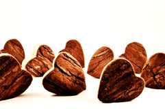 Hearts. Wooden hearts in macro photography stock photos