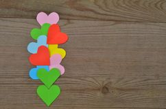 Hearts on Wooden Texture. Royalty Free Stock Image