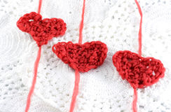 Hearts with wool royalty free stock image