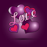 Hearts and the word love on a pink background. Stock Photos