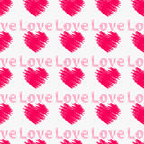 Hearts with the word love. Seamless pattern. Royalty Free Stock Photo