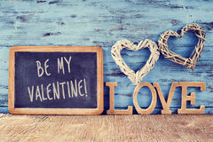 Hearts, word love and text be my valentine Royalty Free Stock Photo