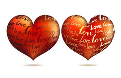 Hearts with words Stock Photo