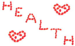 Hearts and the words of the health of the vitamins Royalty Free Stock Photos
