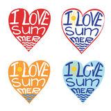 Hearts from words I love summer.Typography Design Royalty Free Stock Photography