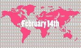 Hearts. World map and words on it-February 14. Striped gray-pink background of hearts. The world map and the words on it - February 14. Happy Valentine`s Day royalty free illustration