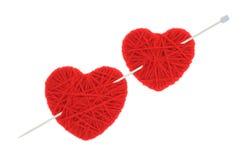 Hearts of yarn Royalty Free Stock Photography