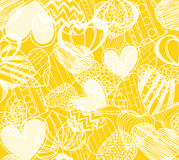 Hearts on yellow background Royalty Free Stock Photography