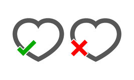 Hearts with Yes and No check marks. Vector illustration. Royalty Free Stock Photography