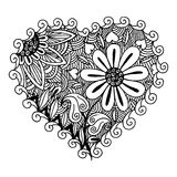Hearts Zentangle. Illustration of heart with flower inside in hand drawn style Stock Photos