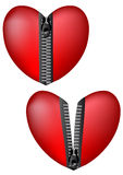 Hearts with zipper Stock Photography