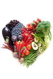 Heartshape fruits and vegetables Royalty Free Stock Image
