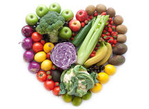 Heartshape fruits and vegetables Royalty Free Stock Photos
