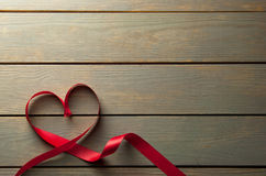Heartshape red ribbon with space Royalty Free Stock Photography