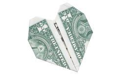 Heartshaped dollar bill Stock Photo