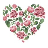 Heartshaped form filled with pink blooming roses and leaves vector illustration