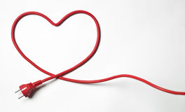 Heartshaped kabel arkivbild
