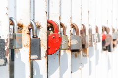 Heartshaped lock on railing Royalty Free Stock Photos