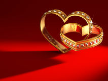 Heartshaped rings. To Valentine's day Royalty Free Stock Photo