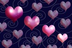 Heartshapes des Rosas und der Malvenfarben Stockfoto