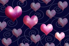 Heartshapes of pink and mauves. Scattered heartshapes of pink and mauves, suitable for romantic occasion and valentine Stock Photo
