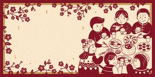 Heartwarming reunion dinner banner. Heartwarming reunion dinner during lunar new year banner, beige and red color tone