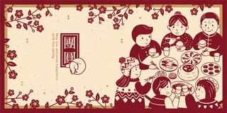 Heartwarming reunion dinner banner. Heartwarming reunion dinner during lunar new year banner, get together written in Chinese characters royalty free illustration