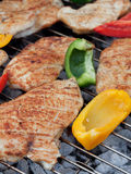 Hearty barbecue. Fresh turkey steaks with on a grill Stock Photos