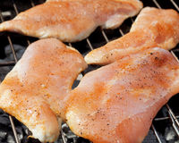 Hearty barbecue. Fresh turkey steaks with on a grill Stock Photography